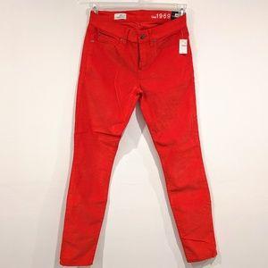 Gap Skinny Cord Legging Jeans Red Stretch 26/ 2R
